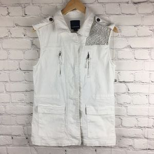 Trouble white studded vest size S